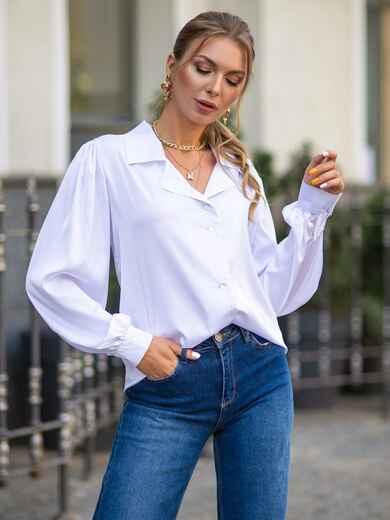 Шелковая блузка свободного кроя с объемными рукавами белая 49414, фото 1