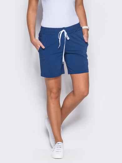 Синие шорты с поясом на резинке - 12109, фото 1 – интернет-магазин Dressa
