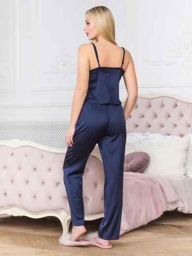 Синяя пижама с топом на бретелях и брюками - 18916, фото 2 – интернет-магазин Dressa