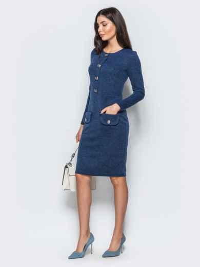 Трикотажное платье-футляр синего цвета с прорезными карманами 17580, фото 2