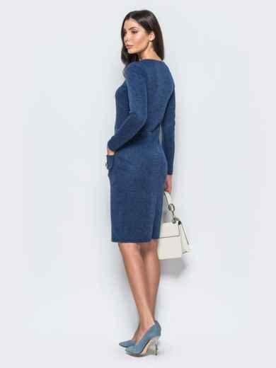 Трикотажное платье-футляр синего цвета с прорезными карманами 17580, фото 3
