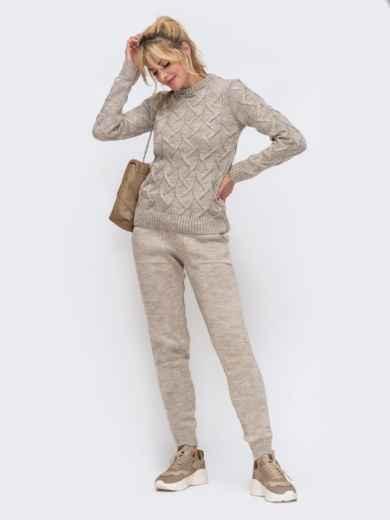Вязаный комплект из свитера и брюк бежевый 50184, фото 2