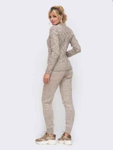 Вязаный комплект из свитера и брюк бежевый 50184, фото 3