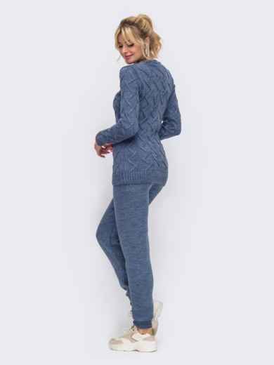 Вязаный комплект из свитера и брюк синий 50186, фото 2