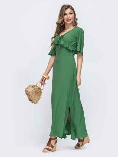 Зелёное платье с оборками на лифе и рукавами-воланами 48490, фото 2