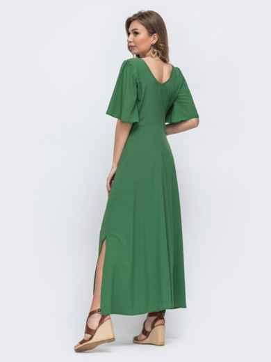 Зелёное платье с оборками на лифе и рукавами-воланами 48490, фото 3