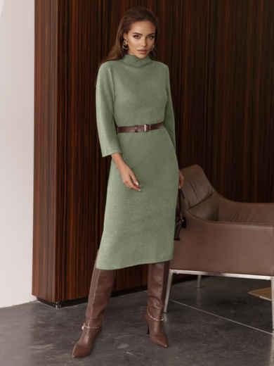 Платье приталенного силуэта с поясом зеленое 55666, фото 1
