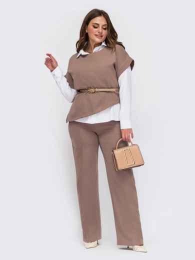 Бежевый костюм с брюками и джемпером с коротким рукавом большого размера 55501, фото 1