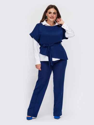 Синий костюм большого размера с брюками и джемпером с коротким рукавом 55502, фото 1