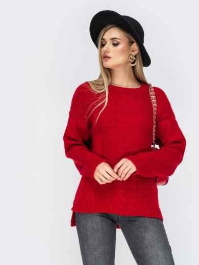 Ажурный свитер с разрезами по бокам красный - 41834, фото 2 – интернет-магазин Dressa