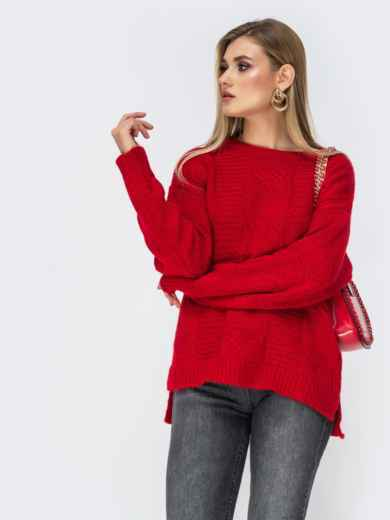 Ажурный свитер с разрезами по бокам красный - 41834, фото 3 – интернет-магазин Dressa