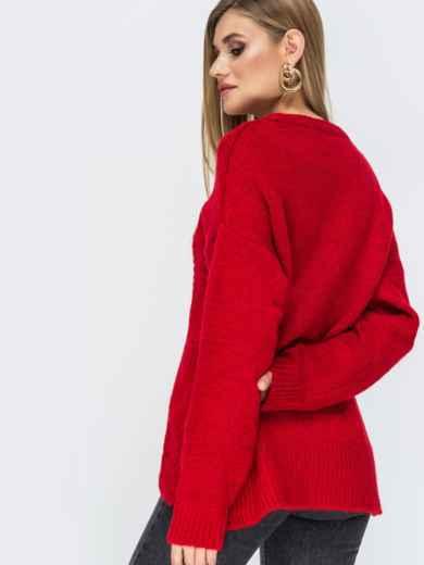 Ажурный свитер с разрезами по бокам красный - 41834, фото 4 – интернет-магазин Dressa