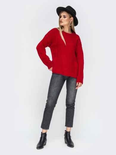 Ажурный свитер с разрезами по бокам красный - 41834, фото 5 – интернет-магазин Dressa