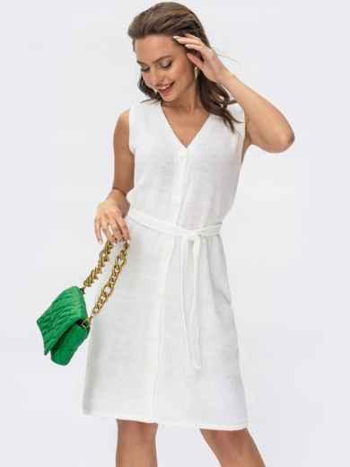 Белое вязаное платье без рукавов на пуговицах 54492, фото 1