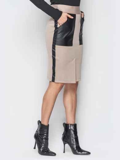 Бежевая юбка-карандаш с кожаными накладными карманами - 19072, фото 2 – интернет-магазин Dressa