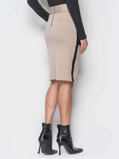 Бежевая юбка-карандаш с кожаными накладными карманами - 19072, фото 3 – интернет-магазин Dressa