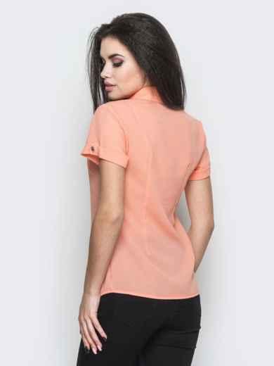 Блузка из креп-шифона с пуговицами на полочке персиковая - 12225, фото 2 – интернет-магазин Dressa