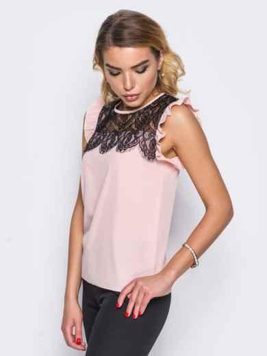 Блузка прямого кроя с кружевной кокеткой розовая - 13250, фото 2 – интернет-магазин Dressa