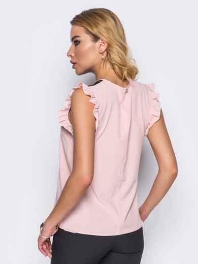 Блузка прямого кроя с кружевной кокеткой розовая - 13250, фото 3 – интернет-магазин Dressa