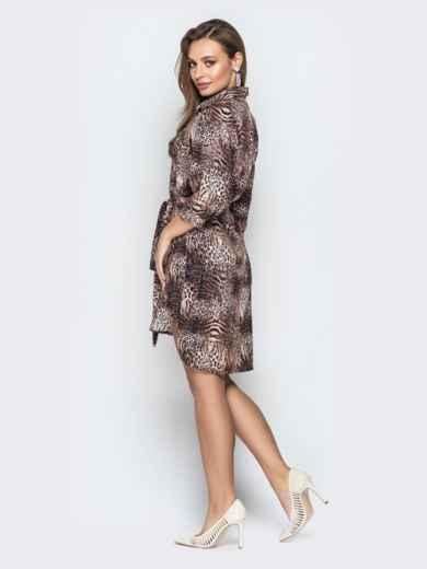 b82a036ccf69e02 Коричневое платье-рубашка с анималистическим принтом и поясом - 21382, фото  3 – интернет