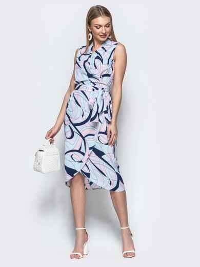 Платье-халат с принтом и закругленным низом синее - 21580, фото 1 – интернет-магазин Dressa