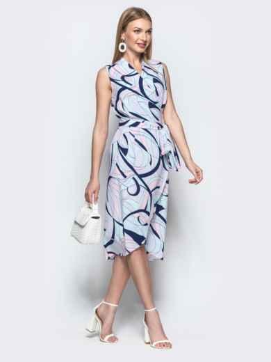 Платье-халат с принтом и закругленным низом синее - 21580, фото 2 – интернет-магазин Dressa