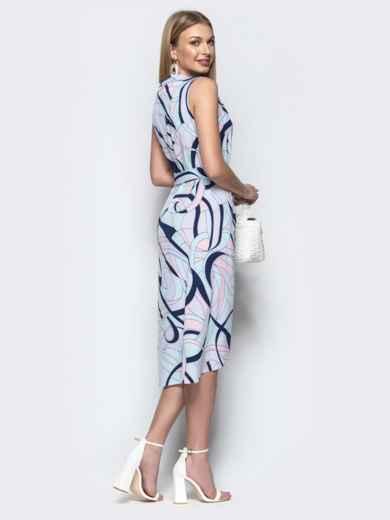 Платье-халат с принтом и закругленным низом синее - 21580, фото 3 – интернет-магазин Dressa