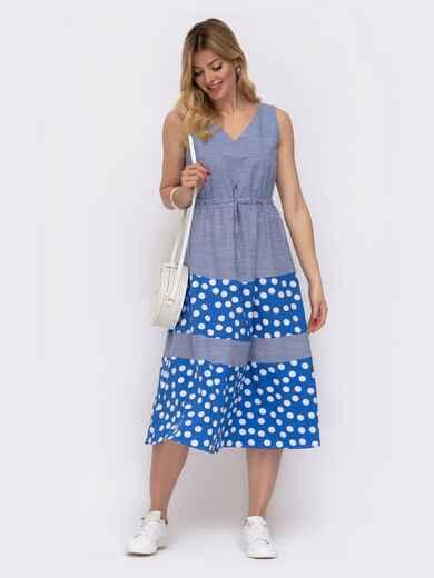 Платье в клетку с контрастными вставками и кулиской по талии голубое 48063, фото 1