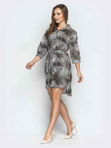 a85bd86518e5a5b Серое платье-рубашка с анималистическим принтом и поясом - 21383, фото 2 –  интернет