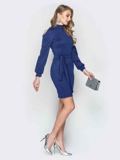 Синее платье с вырезами на рукавах - 19081, фото 2 – интернет-магазин Dressa