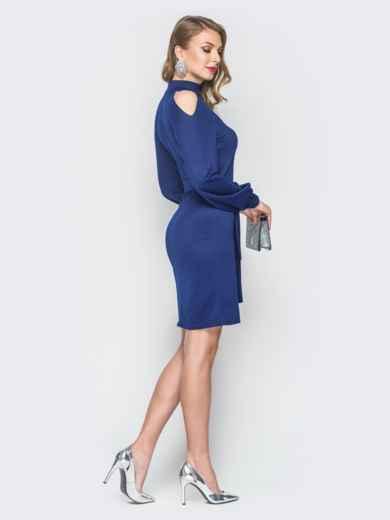 Синее платье с вырезами на рукавах - 19081, фото 3 – интернет-магазин Dressa
