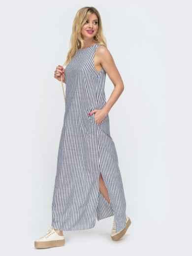 Свободное платье-макси в полоску серое 46810, фото 2