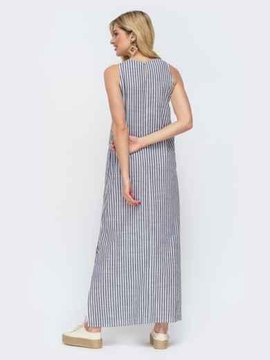 Свободное платье-макси в полоску серое 46810, фото 3