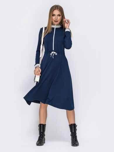 Тёмно-синее платье с куликой по талии и контрастными вставками 42464, фото 1