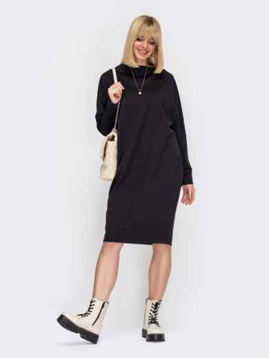 Черное платье-миди с рукавом «летучая мышь» 52983, фото 1