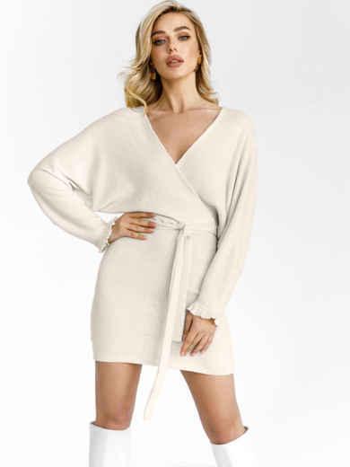 """Молочное платье с рукавом """"летучая мышь"""" 53001, фото 1"""