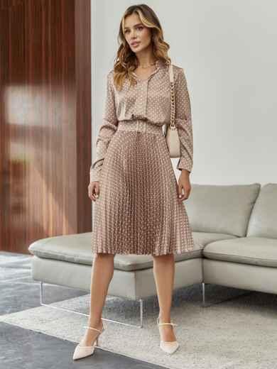 Шелковое платье в горох с юбкой-плиссе бежевое 55374, фото 1