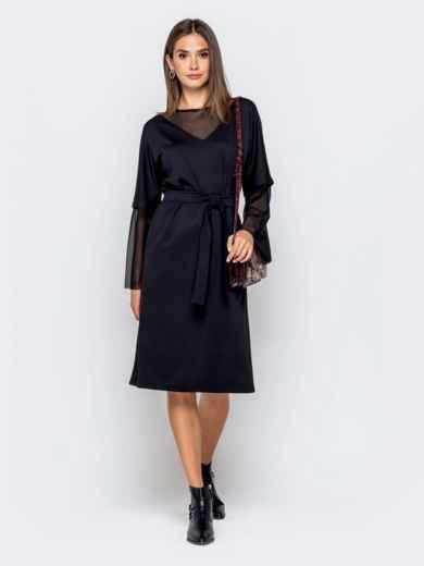 Чёрное платье с цельнокроеным рукавом и фатиновыми вставками - 40950, фото 2 – интернет-магазин Dressa