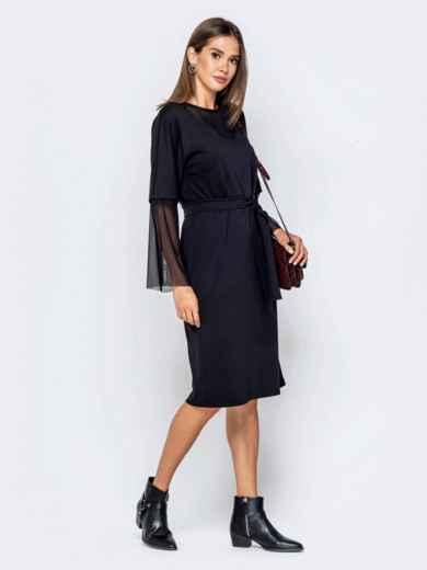 Чёрное платье с цельнокроеным рукавом и фатиновыми вставками - 40950, фото 3 – интернет-магазин Dressa
