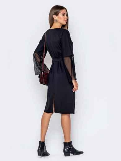 Чёрное платье с цельнокроеным рукавом и фатиновыми вставками - 40950, фото 4 – интернет-магазин Dressa