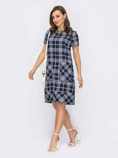 Платье из льна в клетку с накладными карманами темно-синее 53759, фото 1