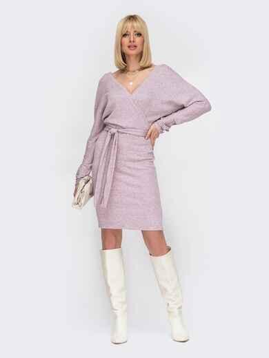 Платье с глубоким вырезом по спинке пудровое 52999, фото 1