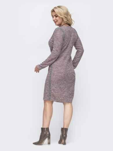 Приталенное платье батал из трикотажа пудровое 50981, фото 2