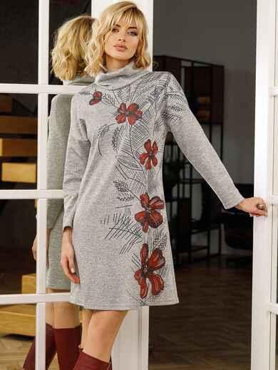 Серое платье-гольф с крупным цветочным принтом 52623, фото 1