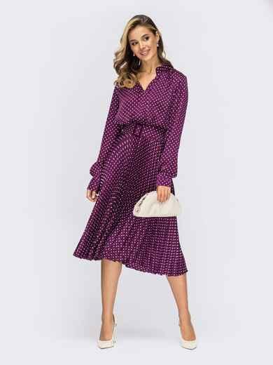 Шелковое платье в горох с юбкой-плиссе фиолетовое 55373, фото 1