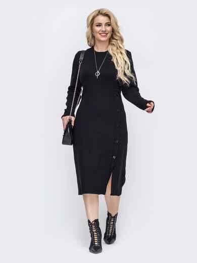 Трикотажное платье батал приталенного кроя чёрное 50978, фото 1
