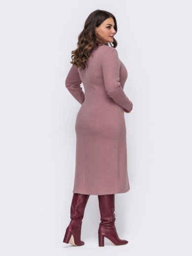 Трикотажное платье батал приталенного кроя розовое 50979, фото 2