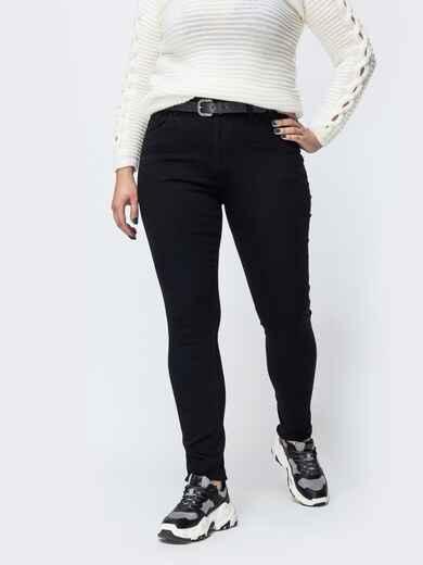 Утепленные джинсы с ремнем в комплекте чёрные - 42607, фото 1 – интернет-магазин Dressa