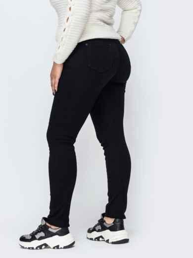 Утепленные джинсы с ремнем в комплекте чёрные - 42607, фото 2 – интернет-магазин Dressa