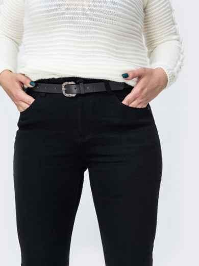 Утепленные джинсы с ремнем в комплекте чёрные - 42607, фото 3 – интернет-магазин Dressa